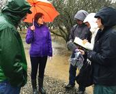 Helen Dahlke (center) talks groundwater recharge with colleagues and journalists in the field. Photo by Pam Kan-Rice.