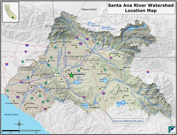 The Santa Ana Watershed spans a large geographic area, including many large cities, of southern California. It begins with tributaries located throughout the area's major mountain ranges and ends where the Santa Ana River enters the Pacific Ocean. Map courtesy of SAWPA.