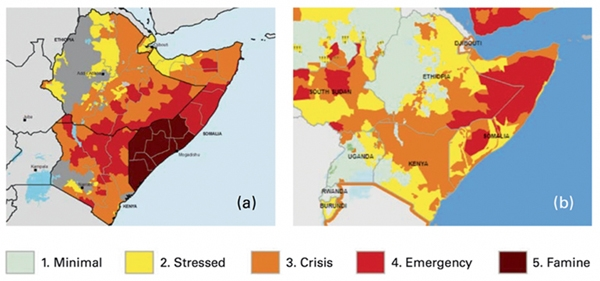 Advances in FEWS NET's monitoring and communication contributed to a much better outcome when drought hit East Africa in 2016 and 2017 (b) compared to the 2011 Somali famine (a). Image from Funk et al.