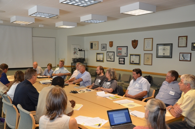 CASI team discussion with members of the UC Davis Agricultural Sustainability Institute.