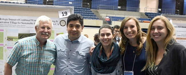 UCD cover crop water use study team. (L to R) Jeff Mitchell, Samuel Sandoval-Solis, Sloane Rice, Anna Gomes, and Alyssa DeVincentis