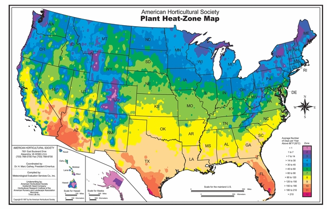 The accompanying map has been reproduced with permission of the American Horticultural Society (www.ahs.org).