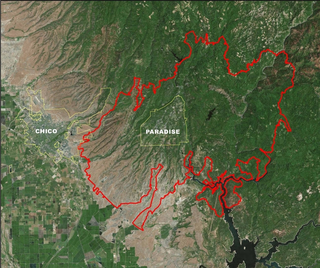 Area Affected by Camp Fire, Aerial View