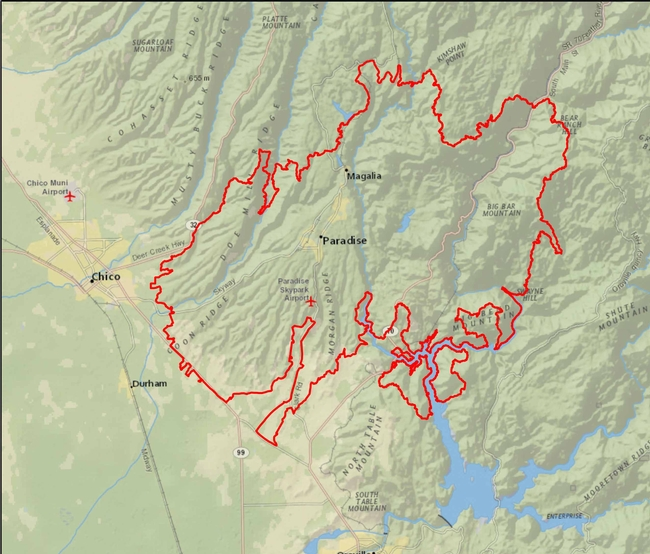 Area Affected by Camp Fire, Relief View