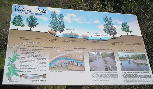 Verbena Fields floodplain restoration sign, Laura Lukes
