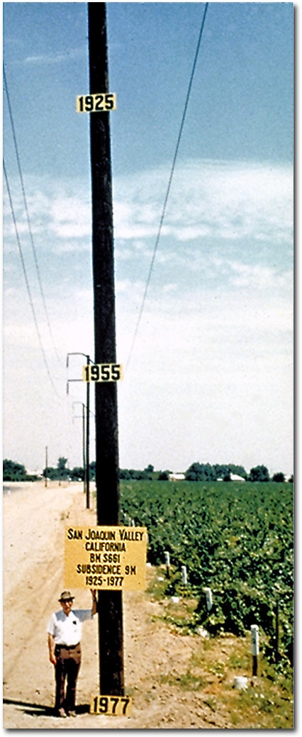 Joseph Poland near Mendota showing the level of subsidence in the San Joaquin Valley