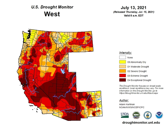 Drought Monitor Western US as of 7-13-2021