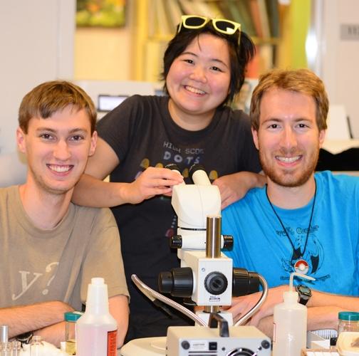 The Entomological Trio:  Andrew Richards (far left), Ivana Li and Matan Shelomi. (Photo by Kathy Keatley Garvey)