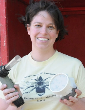 Tara Thiemann is researching the blood meals of Culex mosquitoes, which transmit West Nile virus.(Photo by Kathy Keatley Garvey)