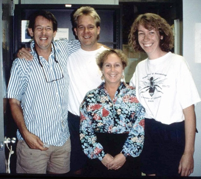 Bryony Bonning (far right) in her postdoc days at UC Davis. With her (from left) are her major professor Sean Duffey (1943-1997); Billy McCutchen and Kelli Hoover.