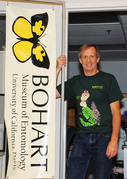 Senior museum scientist Steve Heydon with California dogface butterfly shirt. (Photo by Kathy Keatley Garvey)