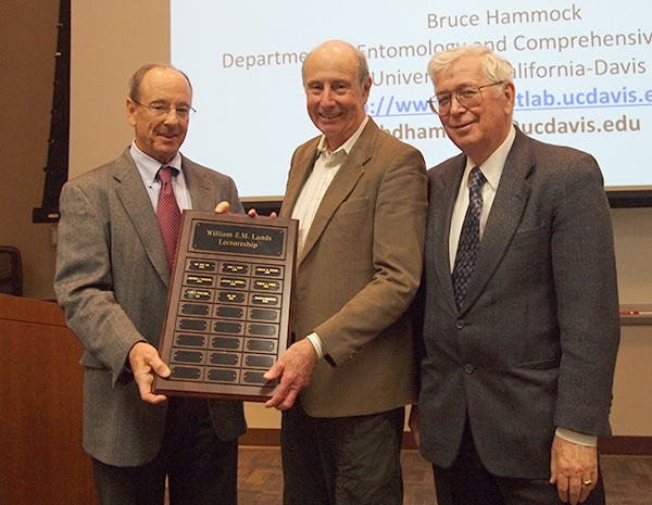 Awards ceremony: From left are Professor Bill Smith, chair of the Department of Biological Chemistry; recipient Bruce Hammock, distinguished professor of entomology at UC Davis; and William Lands, for whom the lectureship is named. (Photo by Department of Biological Chemistry, University of Michigan Medical School)