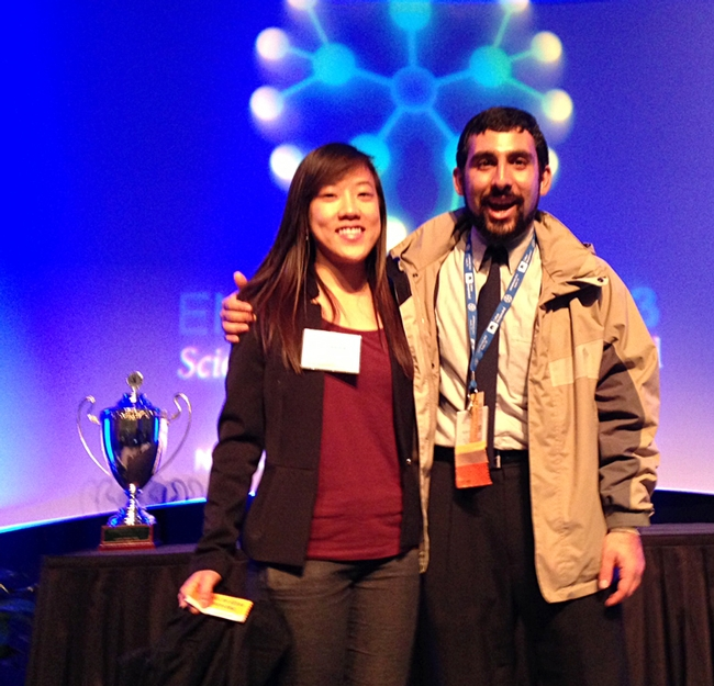 Mohammad-Amir Aghaee won the President's Prize in his category for his talk on a rice water weevil at the ESA meeting in Austin. Rosanna Kwok received the second-place award in her category in the President's Prize competition. (Photo by Frank Zalom)
