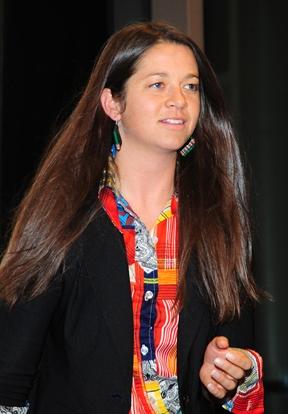 Anna Davidson, moderatorand organizer (Photo by Kathy Keatley Garvey)