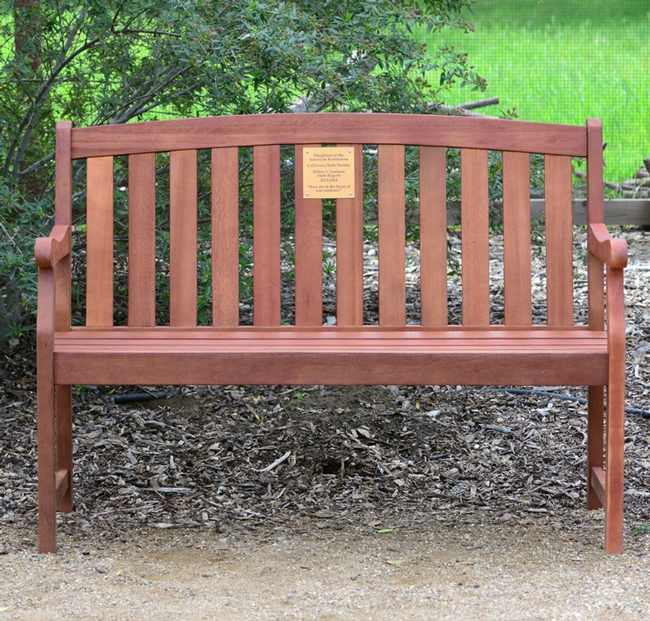 One of two benches donated by the California State Society of DAR. This was State Regent Debra Jamison's project.