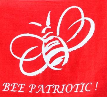 'Bee Patriotic' rally towel, the work of Debra Jamison.