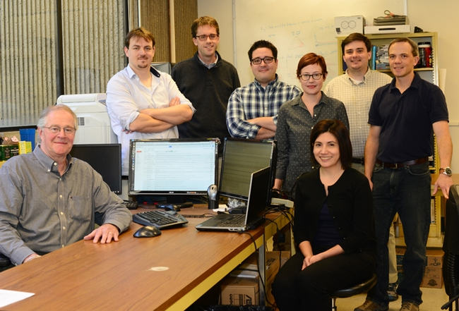 Dengue researchers,  led by Tom Scott (seated, far left) are  Robert Reiner, Christopher Barker, Jody Simpson, Sandra Olkowski, Veronica Armijos (seated), Alex Perkins, and Steven Stoddard. (Photo by Kathy Keatley Garvey)