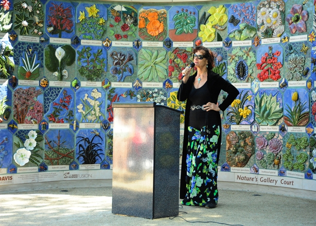 Donna Billick addresses the crowd at the opening of Nature's Gallery, UC Davis Arboretum. (Photo by Kathy Keatley Garvey)