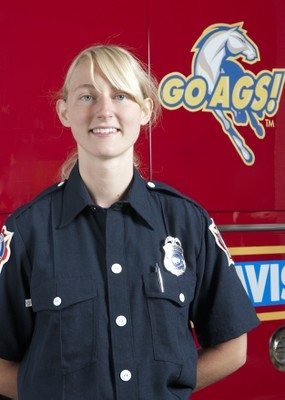 Susan Gilik as a student firefighter. (Photo courtesy of the UC Davis Fire Department