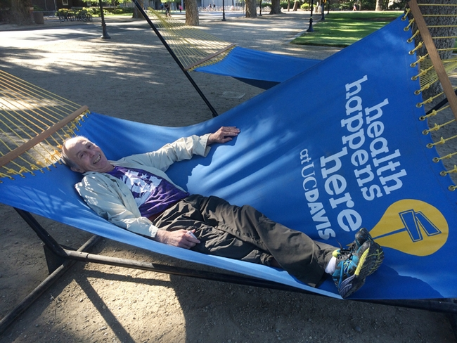 Bruce Hammock in a hammock. Is he ready for the ice bucket challenge? Photo taken by Cindy McReynods at the UC Davis quad.