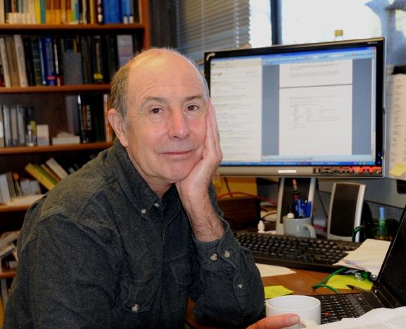 Bruce Hammock in his Briggs Hall office. (Photo by Kathy Keatley Garvey)