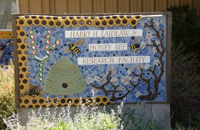 Sign in front of the Harry H. Laidlaw Jr. Honey Bee Research Facility. (Photo by Kathy Keatley Garvey)