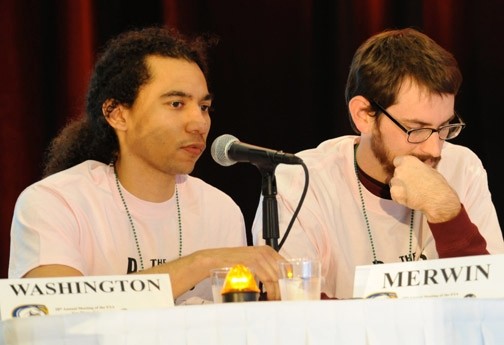 Ralph Washington (left) of the UC Davis Linnaean Team correctly answers a question during the competition with Ohio State. At right is Andrew Merwin