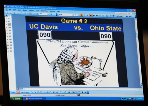 In the UC Davis-Ohio State competition, the score was tied at 90 to 90 before Ohio State answered the next question correctly and went on to win the game. Ohio advanced to the championship game and defeated the University of Nebraska.