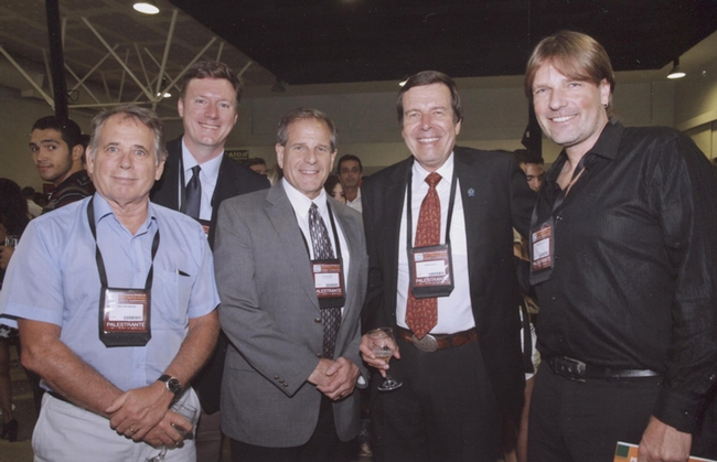 IPM specialist Frank Zalom (second from right), distinguished professor of entomology at UC Davis and the president of the 7000-member Entomological Society of America, recently spoke to the 25th Brazilian Congress of Entomology. From left are  ESA Past President Grayson Brown, ESA Executive Director David Gammel, ESA Vice President Phil Mulder, Zalom and invited speaker Christian Nansen, the newest faculty member in the UC Davis Department of Entomology and Nematology.