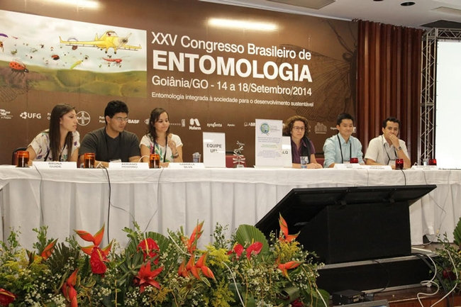Entomology students answer questions about insects in the EntomoQuiz, a version of the ESA's Linnaean Games. These teams competed in the finals.