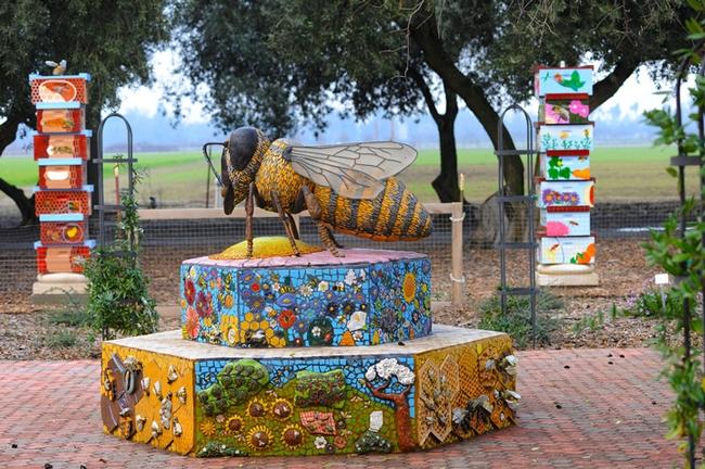 This mosaic ceramic sculpture, titled