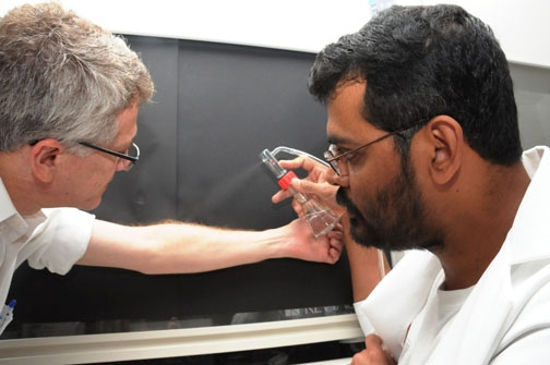 UC Davis researcher Zain Syed (right) sprays DEET on the arm of chemical ecologist Walter Leal. (Photo by Kathy Keatley Garvey)
