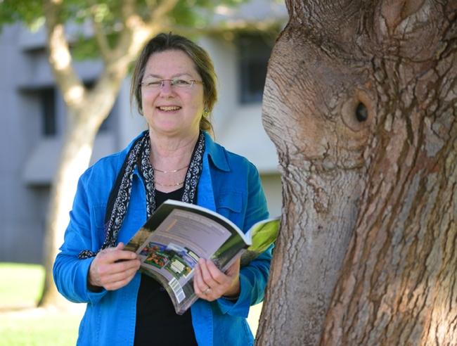 Mary Lou Flint outside Briggs Hall. (Photo by Kathy Keatley Garvey