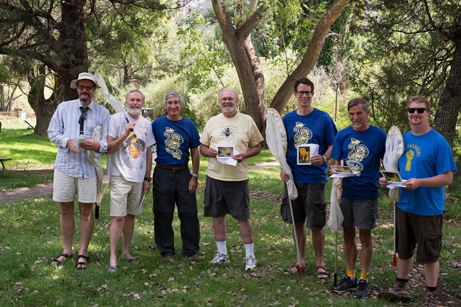 Bee Course instructors from  2013 are (from left) Laurence Packer, York University, Toronto; Terry Griswold, USDA Bee Lab, Logan UT;  Steve Buchmann, Tucson, AZ; Robbin Thorp; John Ascher, University of Singapore; Jim Cane, USDA Bee Lab, Logan, UT; Eli Wyman, American Museum of Natural History, NY.  Not pictured: Jerome G. Rozen, Jr., AMNH, Course Leader who was unable to participate that year.