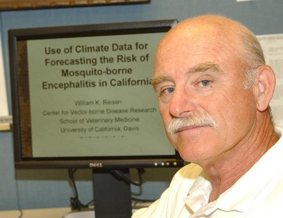 Medical entomologist William Reisen at his computer. (Photo by Kathy Keatley Garvey)