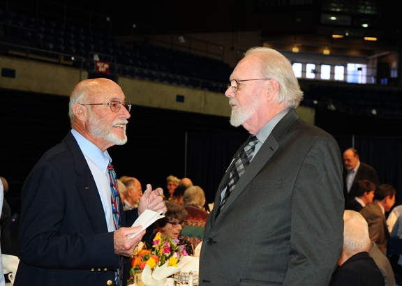 Emcee Bill Rains (left), a past president of the UC Davis Emeriti Association, chats with Robbin Thorp prior to the ceremony. (Photos by Kathy Keatley Garvey)
