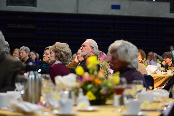 The attendees listen to Chancellor Linda P. B. Katehi. In the center is distinguished emeritus professor Robbin Thorp.