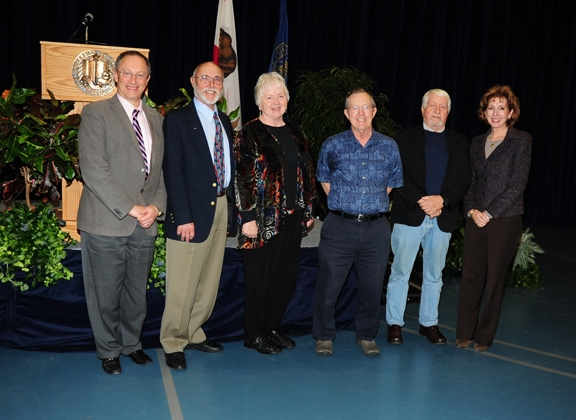 The three Dickson award recipients received congratulations. From left are Provost Executive Vice Chancellor Ralph Hexter; emcee Bill Rains, past president of the UC Davis Retiree Association; and Dickson recipients Martha Macri, Hugh Dingle and Daniel Anderson; and Chancellor Linda P. B. Katehi.