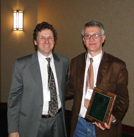 Chemical ecologist Walter Leal (right) is the 2010 recipient of the prestigious C. W. Woodworth Award. With him is Brian Holden, great-grandson of Woodworth.