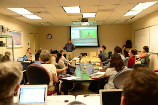 James Carey teaching video-recording to UC Davis faculty. (Photo by Kathy Keatley Garvey)