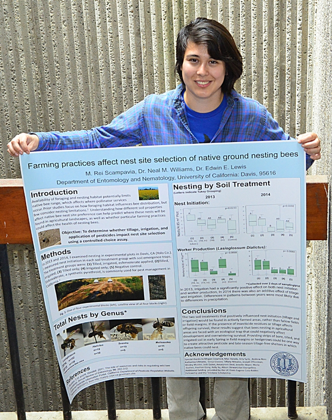"Margaret ""Rei"" Scampavia with her first-place graduate student research poster. (Photo by Kathy Keatley Garvey)"