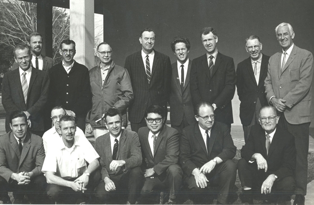 The UC Davis Department of Entomology, Feb. 3, 1970. In front (from left) are Dick Bushing, Frank Summers, Bob Schuster, Al Grigarick, Bob Washino, Harry Lange and Harry Laidlaw. In back (from left) are Charles Judson. Robbin Thorp, Vern Burton, Elmer Carlson, Oscar Bacon, Frank Strong, Don McLean, Ward Stanger and Ed Loomis. (Photo courtesy of Oscar Bacon)