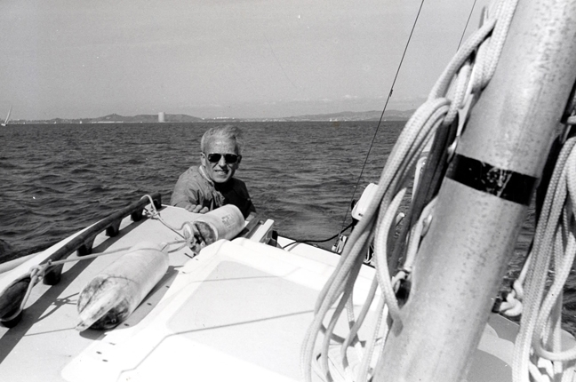 Charles Judson sailing, 1989. This is one of the family's favorite photos of him.