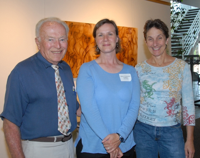 Professor emeritus Charles Judson poses for a photo with his teaching assistant, Fran Keller (center) and Lynn Kimsey, director of the Bohart Museum of Entomology and professor of entomology at UC Davis. The occasion: Keller received a campuswide outstanding graduate student teacher award in 2008. See http://ucanr.edu/blogs/blogcore/postdetail.cfm?postnum=18733 (Photo by Kathy Keatley Garvey)