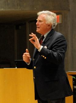 Sen. Gary Hart lecturing at the
