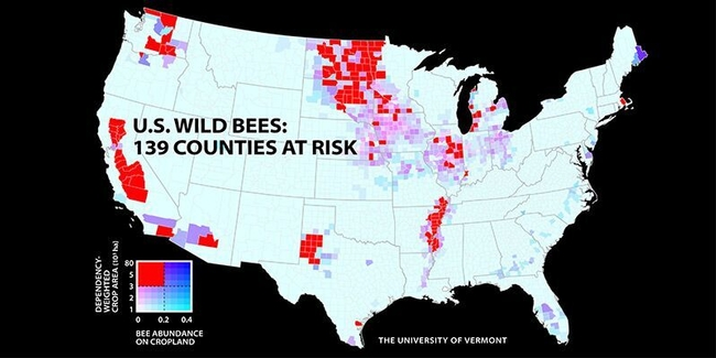 This map shows 139 counties at risk. (University of Vermont)