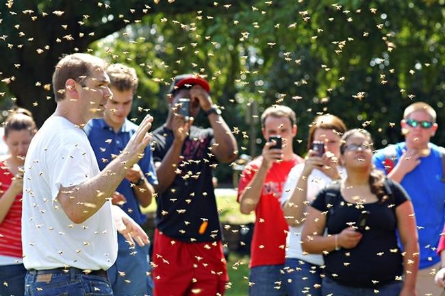 David Tarpy (far left) with beekeeping students. (Photo Courtesy of North Carolina State University)