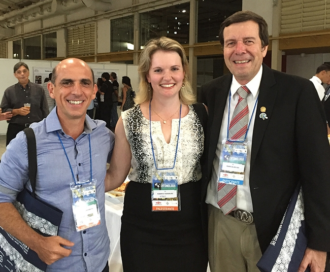 Frank Zalom (far right) of UC Davis and past president of the Entomological Society of America is pictured  with doctoral candidate Roberta Tognon and her major professor Josue Sant'Ana of the Universidade Federal do Rio Grande do Sul. Tognon  studied in the Zalom lab and presented research from the lab at the Brazilian Entomological Society meeting.
