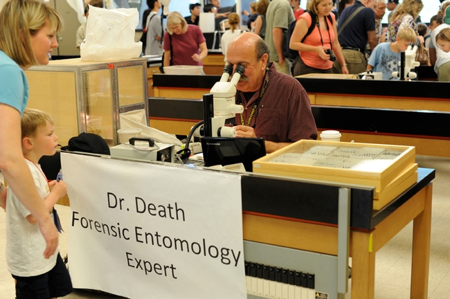Forensic entomologist Robert Kimsey of the Dr. Death booth answers questions at the annual Picnic Day. (Photo by Kathy Keatley Garvey)
