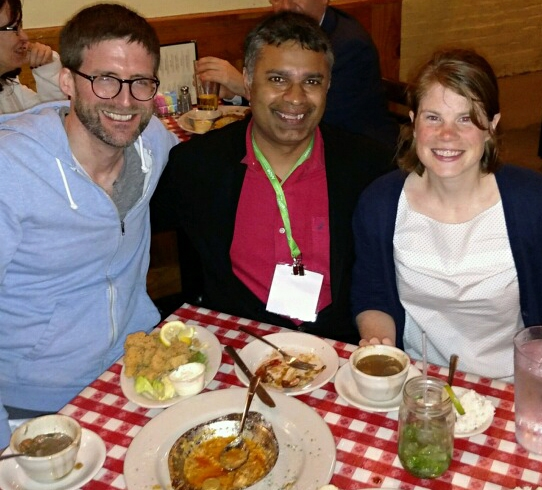 Amy Rand and colleagues Harvard Medical School professor Dipak Panigrahy (center), formerly with the Hammock lab; and Todd  Harris, project scientist, Hammock lab, at celebration in New Orleans to attend the American Association for Cancer Research meeting.